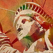Statue Of Liberty Watercolor Portrait No 1 Art Print