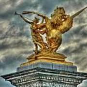 Statue On Pont Alexandre IIi Art Print