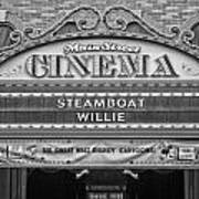 Steam Boat Willie Signage Main Street Disneyland Bw Art Print