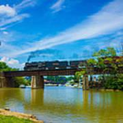 Steam Locomotive Crossing Bridge Art Print
