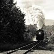 Steam On The Rails Art Print
