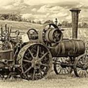 Steam Powered Tractor Sepia Art Print