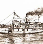 Steamboat Reliance Sepia Art Print