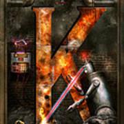 Steampunk - Alphabet - K Is For Killer Robots Art Print
