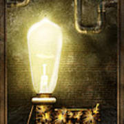 Steampunk - Alphabet - L Is For Light Bulb Art Print