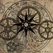 Steampunk Gold Gears II  Art Print