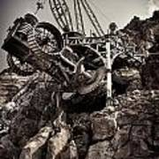 Steampunk Land Boring Machine At Disneysea Black And White Art Print