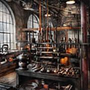 Steampunk - Room - Steampunk Studio Art Print by Mike Savad