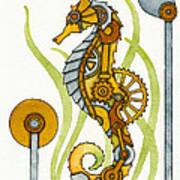Steampunk Seahorse Print by Nora Blansett