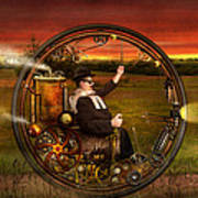 Steampunk - The Gentleman's Monowheel Art Print by Mike Savad