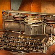 Steampunk - The History Of Typing Art Print by Mike Savad