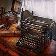 Steampunk - Typewriter - The Secret Messenger  Art Print by Mike Savad