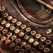 Steampunk - Typewriter - Too Tuckered To Type Art Print