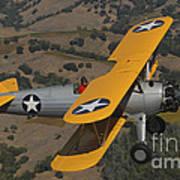 Stearman Pt-17 Biplane Flying Framed Print