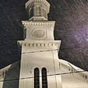 Steeple In A Snowstorm Art Print