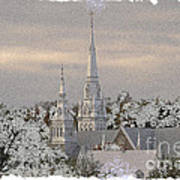 Steeples In The Snow Art Print
