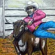 Steer Wrestling Original For Sale Art Print