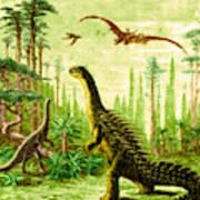 Stegosaurus And Compsognathus Dinosaurs Art Print