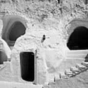 steps from the courtyard up to the entrance of the caves at the Sidi Driss Hotel underground at Matmata Tunisia scene of Star Wars films Art Print