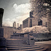 Steps In A City Park Art Print