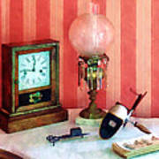 Stereopticon Lamp And Clock Art Print