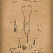 Stethoscope 1882 Patent Art Brown Art Print