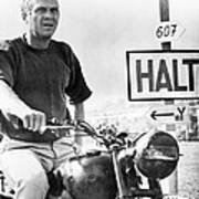 Steve Mcqueen On Motorcycle Art Print by Retro Images Archive