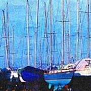 Still In Storage North Muskegon Marina  Art Print by Rosemarie E Seppala