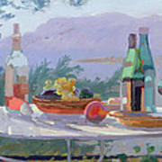 Still Life And Seashore Bandol Art Print by Sarah Butterfield