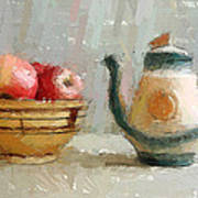 Still Life Apples And Tea Pot Art Print by Yury Malkov