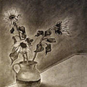 Still Life Ceramic Pitcher With Three Sunflowers Art Print
