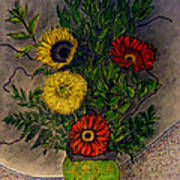 Still Life Ceramic Vase With Two Gerbera Daisy And Two Sunflowers Art Print