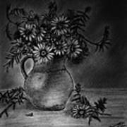 Still Life Clay Pitcher With 13 Daisies Art Print