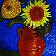 Still Life Clay Vase With Two Sunflowers Art Print