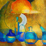Still Life In Ocher And Blue Art Print