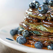Still Life Of Blueberry Pancakes With Art Print