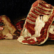 Still Life Of Sheep's Ribs And Head Print by Francisco Jose de Goya y Lucientes