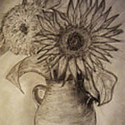Still Life Two Sunflowers In A Clay Vase Art Print