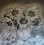 Still Life - Vase With 6 Sunflowers Art Print