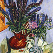 Still Life With A Vase Of Flowers Art Print by Ernst Ludwig Kirchner