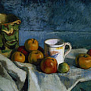 Still Life With Apples Cup And Pitcher Art Print by Paul Cezanne
