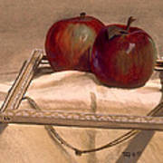 Still Life With Apples In An Old Frame Art Print