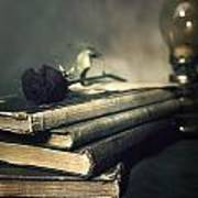 Still Life With Books And Roses Art Print
