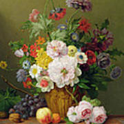 Still Life With Flowers And Fruit Art Print by Anthony Obermann