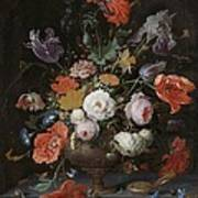 Still Life With Flowers And Watch Art Print