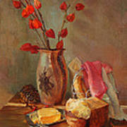 Still-life With Fresh Bread And A Knife Art Print