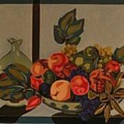 Still Life With Fruit And Wine Art Print