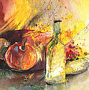 Still Life With Fruits And Flowers And Bottle Art Print