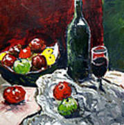 Still Life With Fruits And Wine Art Print