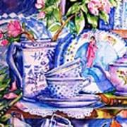 Still Life With  Japanese Plate And Apple Blossom  Art Print